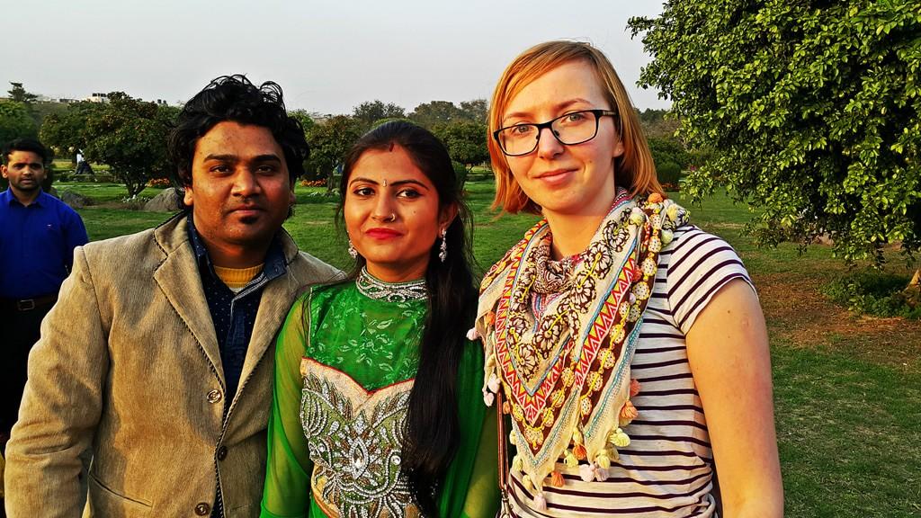 Kaja with Indian tourist at Lotus Temple