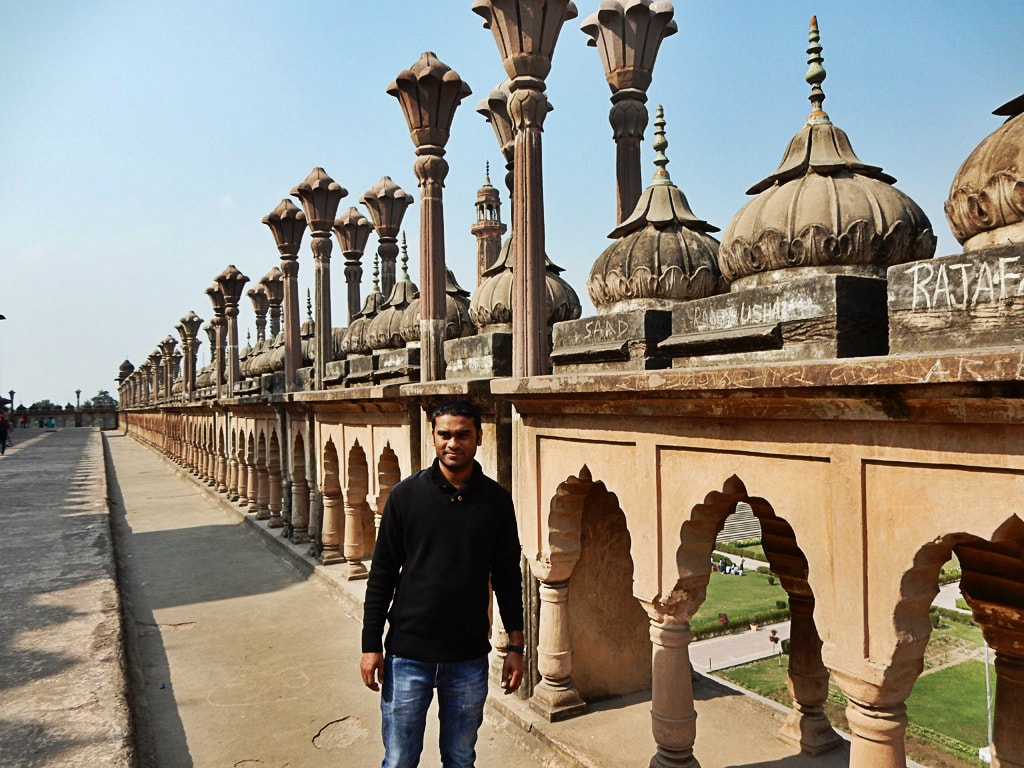 My younger brother Abhishek at roof of Bara Imambara