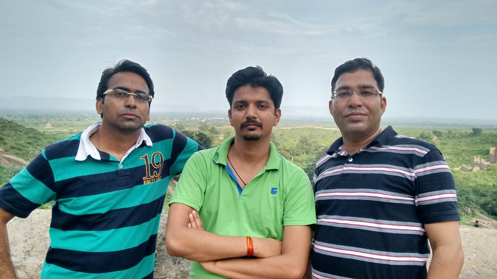 Me with friends at Top of Bhangarh Fort
