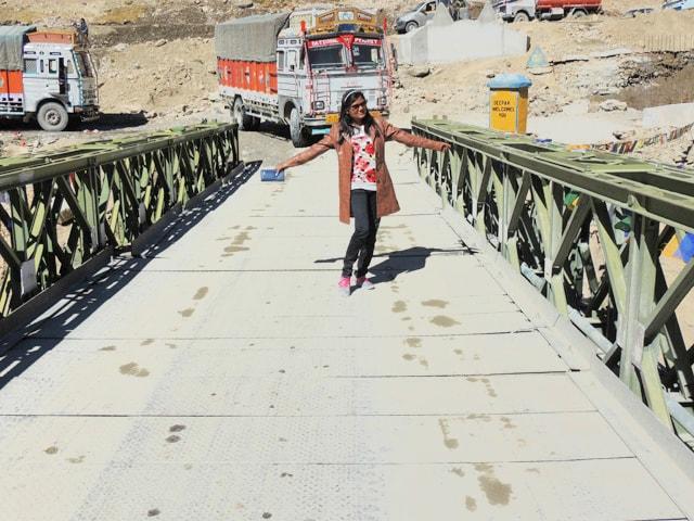 Ruchika at broken Bridge, Sarchu