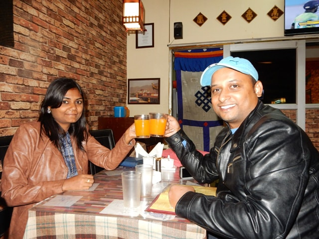 Ruchika and Amby, dinner time