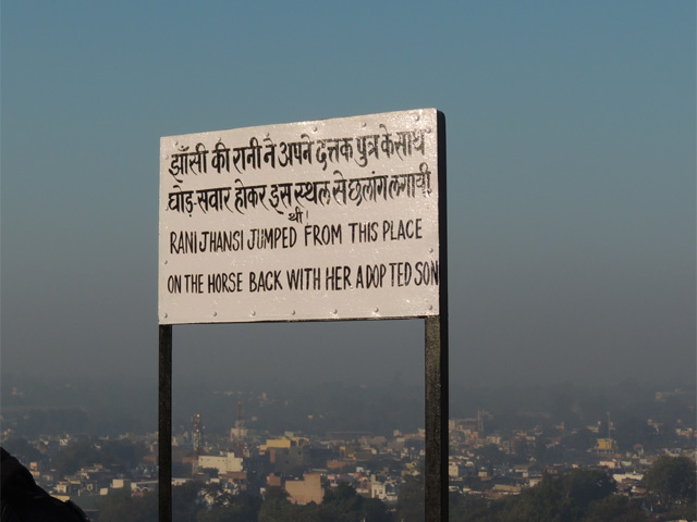Board on the top of Jhansi Fort