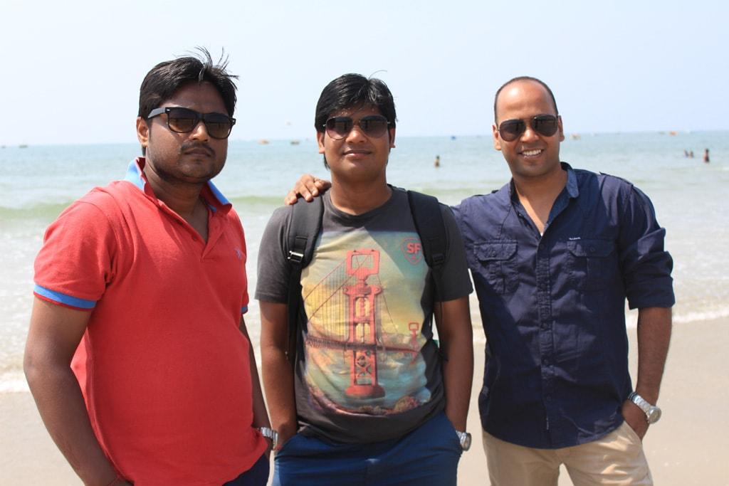 Manish, Vipin and Shashank at Palolem beach