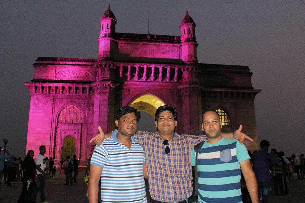 Manish, Vipin and Shashank at Gateway of India