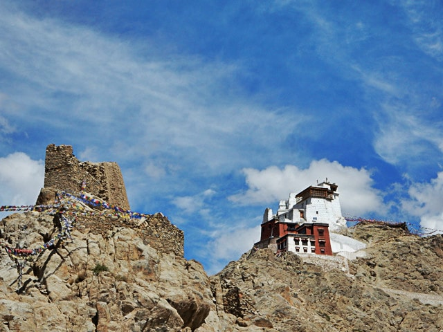 view of Namgyal Tsemo Gompa from Leh Palace