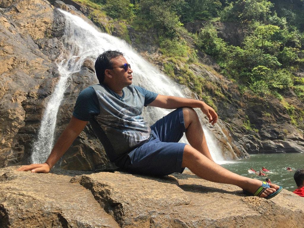 Tarun at Dudhsagar waterfall
