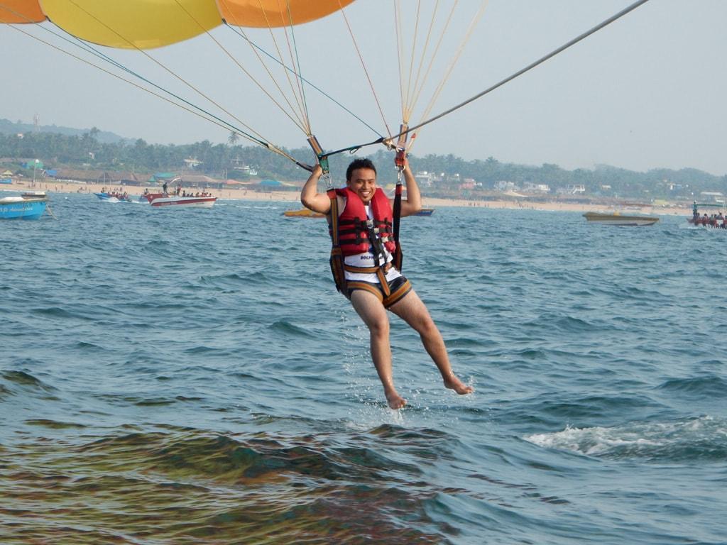 Tarun enjoying parasailing