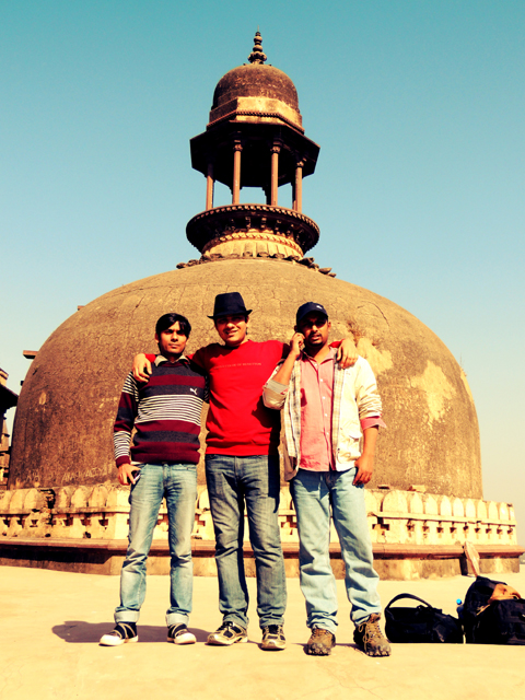 I, Amit and Amby on the top of Old Temple