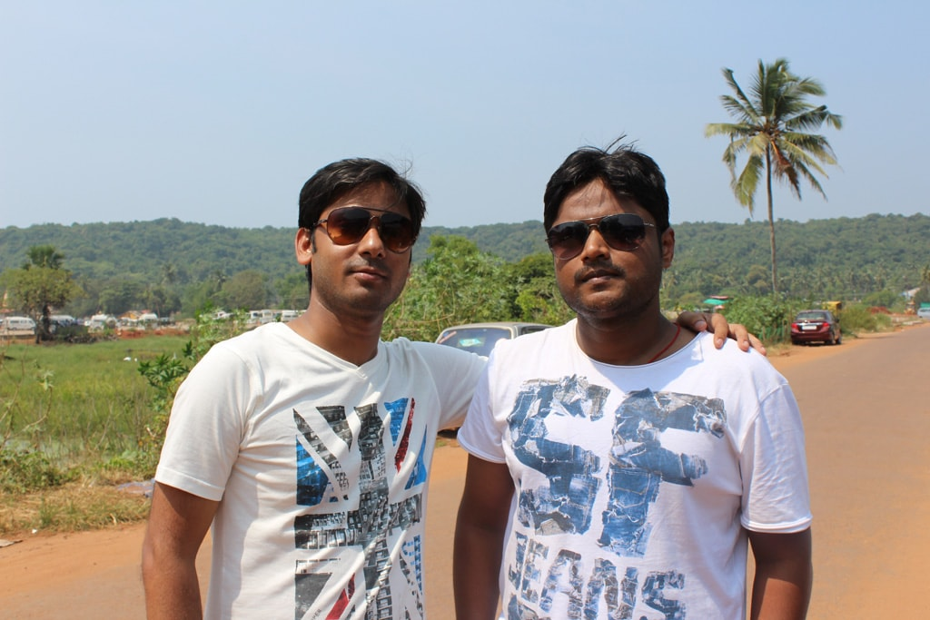 Vivek and Manish, somewhere in North Goa