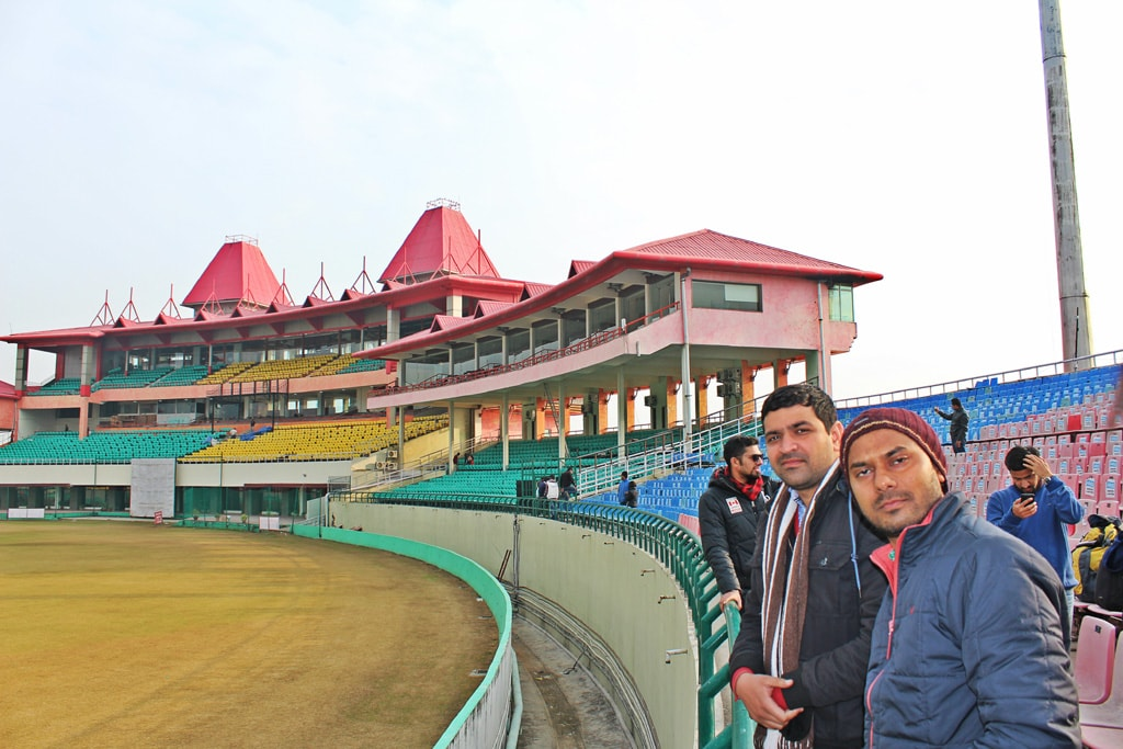 I and Deepankar in Dharamshala Cricket Stadium