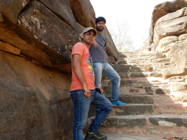 Vivek and Pankaj at Udayagiri Cave, Vidisha