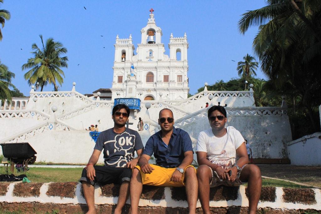 Vivek, Shashank, Manish at Panjim Church