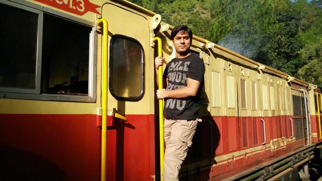 enjoying Toy train journey
