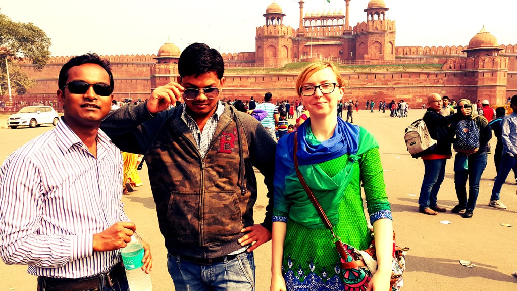 Subhasis and Anoop with Kaja at Red Fort, Delhi