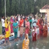 Morning arghya (worship) of God Sun on fourth and final day of Chhat Puja