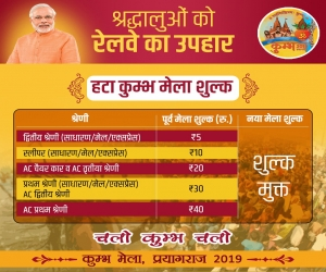 Indian Railways offers train tickets at just Rs 5 for Ardh Kumbh Mela